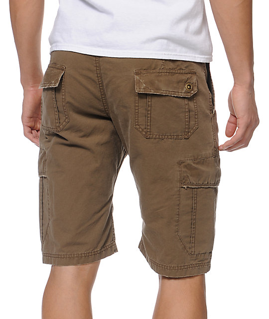 Free World Head Honcho Bedford Dark Khaki Cargo Shorts