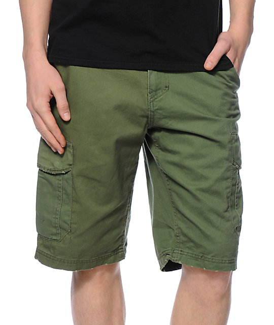 Free World Head Honcho Olive Cargo Shorts