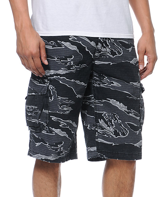 Free World Informant Black Tiger Camo Cargo Ripstop Shorts