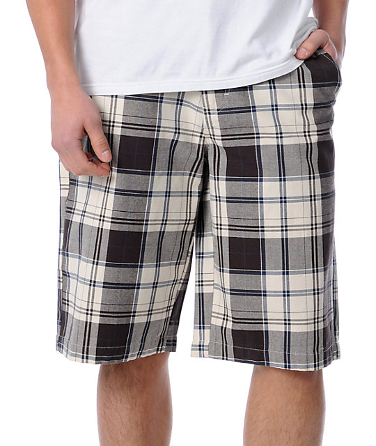 Free World Interchange Light Beige Plaid Chino Shorts