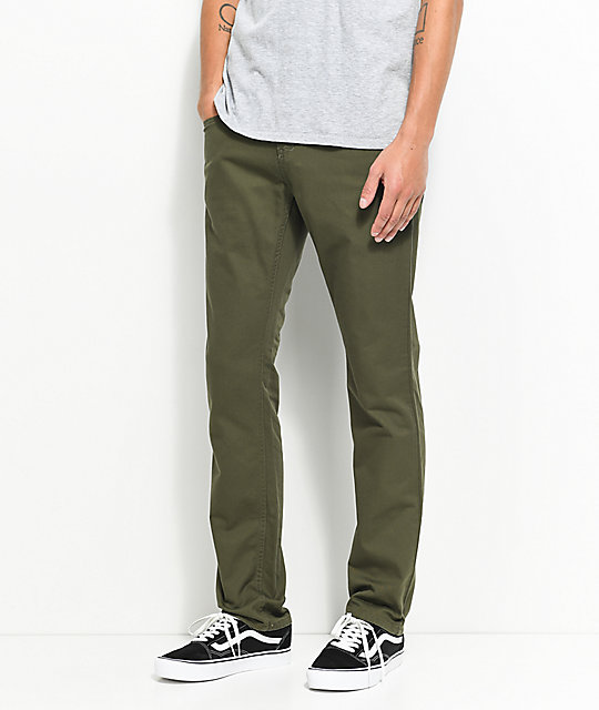 Free World Messenger Olive Twill Skinny Jeans