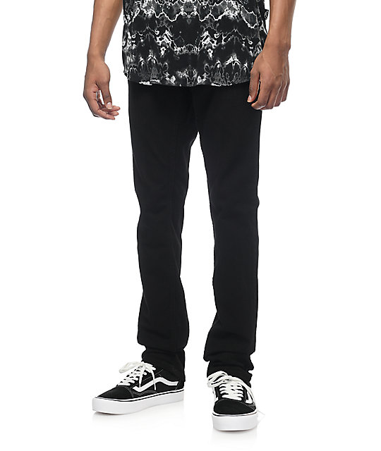 Free World Messenger Pure Black Stretch Skinny Jeans (Past Season)