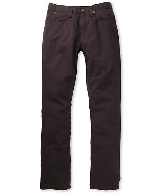 Free World Messenger Skinny Black Cherry Twill Pants