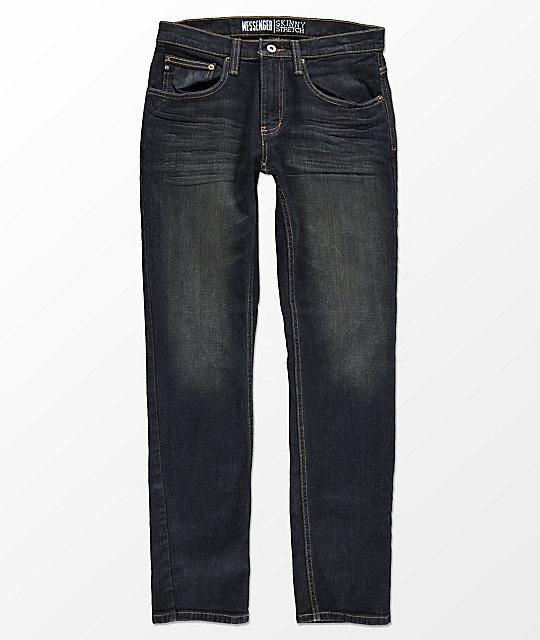 Free World Messenger Stretch jeans ajustados con lavado antiguo
