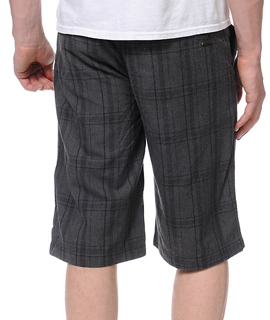 Free World Monitor Grey Plaid Chino Shorts