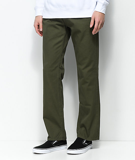 Free World Night Train Olive Twill Regular Fit Jeans