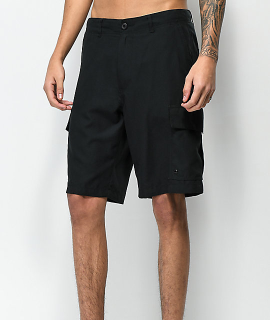 Free World Supertubes Black Cargo Hybrid Shorts