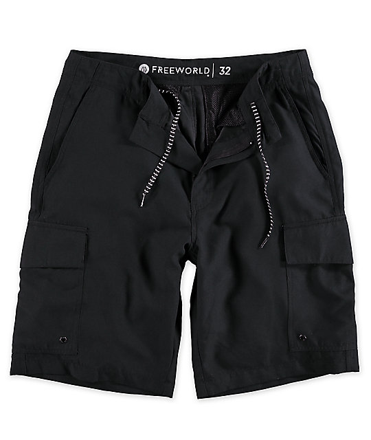Free World Supertubes shorts híbridos en negro