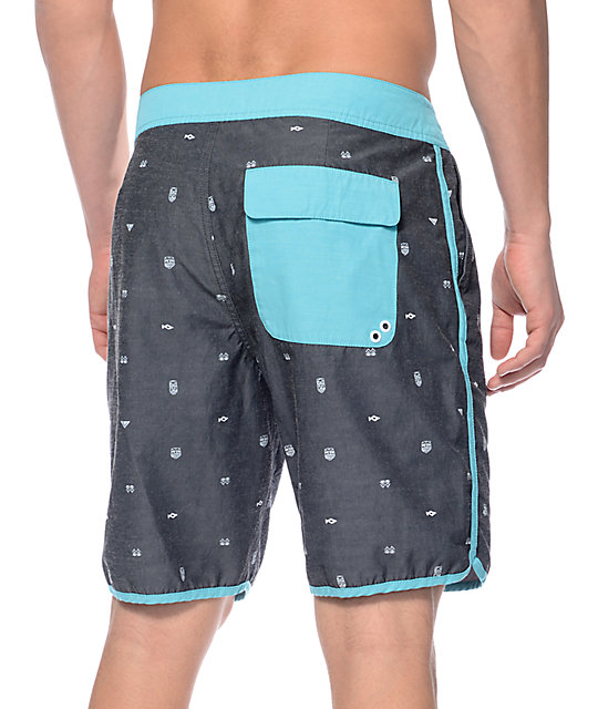 "Free World Swellular Black and Teal Scallop 19.5""  Board Shorts"