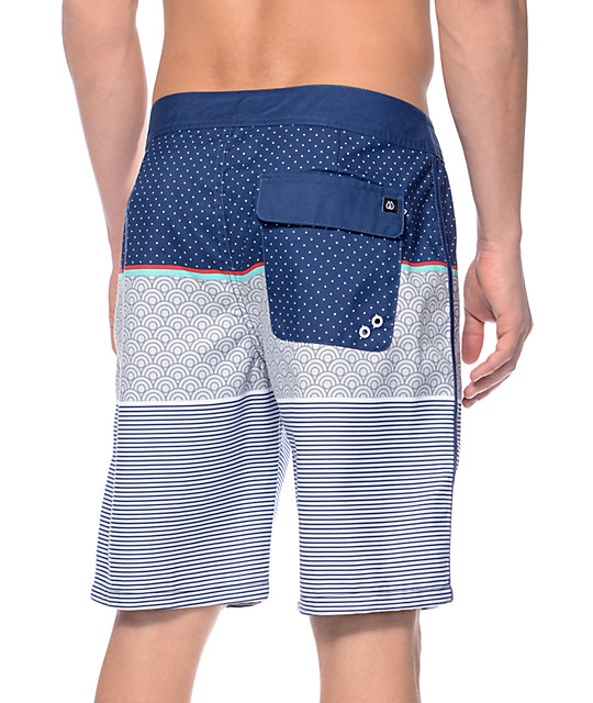 "Free World Wake Zone Navy and Grey 20""  Board Shorts"