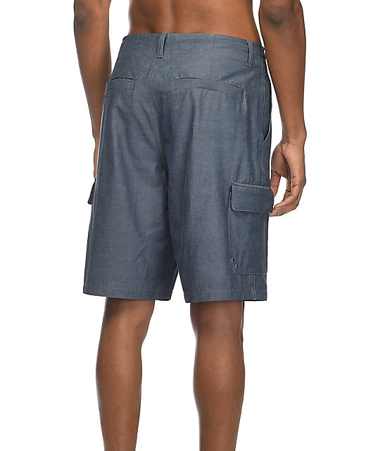 Free World Wave Break Cargo Navy Hybrid Board Shorts