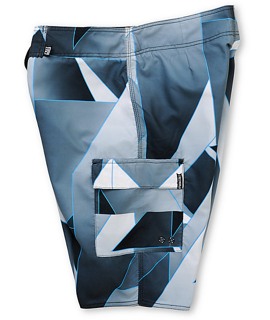 Free World Wedge Grey, White, & Blue Geo 21.25 Board Shorts