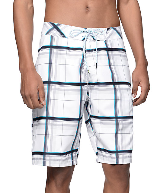 "Free World White Caps White Plaid 21.25""  Board Shorts"