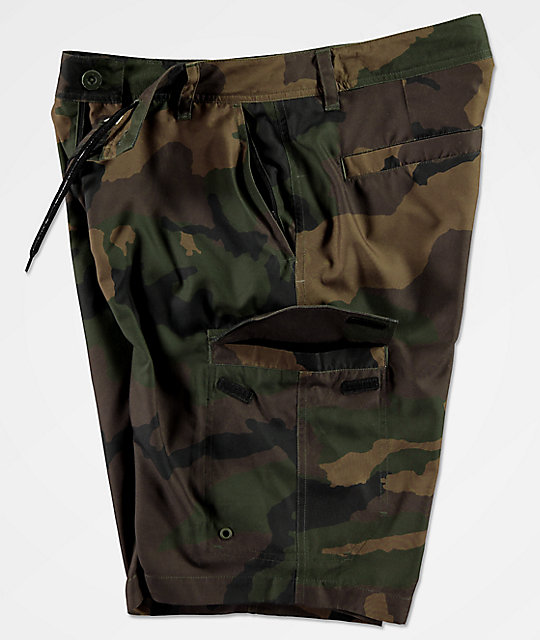 Freeworld Smashing Woodland Camo Cargo Hybrid Shorts