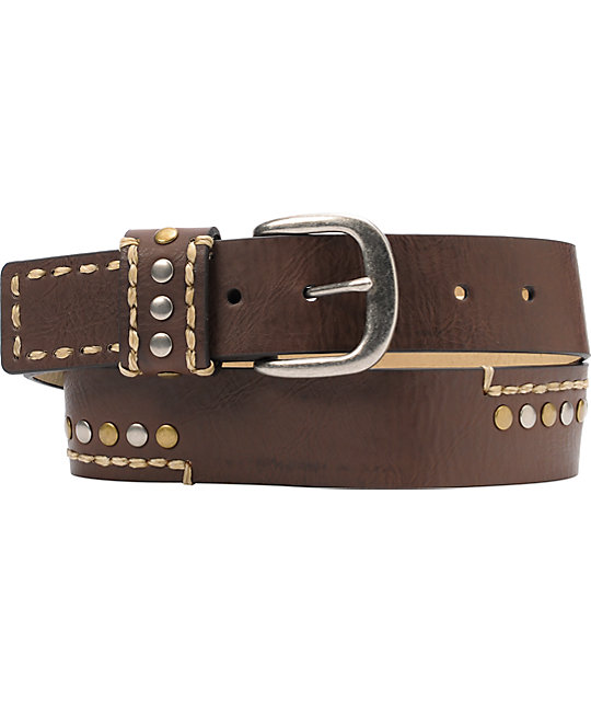 French Craft Brown Stitch and Stud Belt