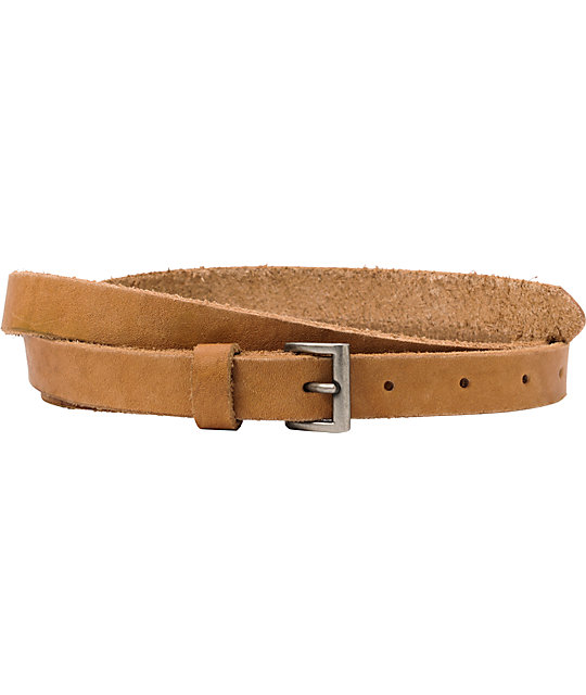 French Craft Tan Leather Skinny Belt