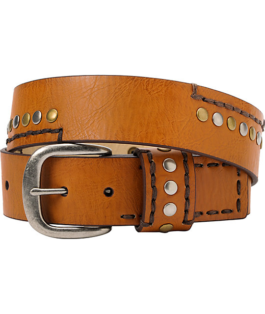 French Craft Tan Stitch and Stud Belt