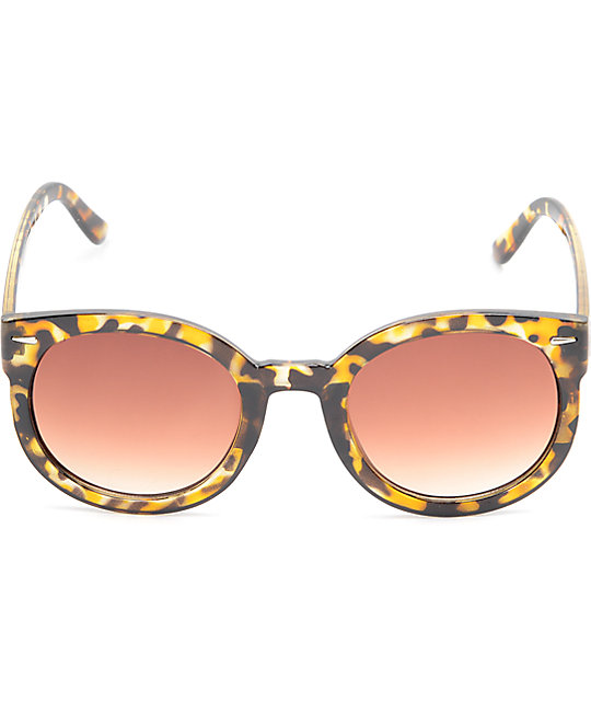 Friend Brown Tortoise Shell Oversized Round Sunglasses