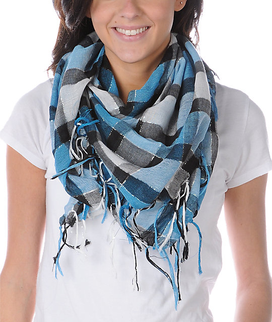 Fringe Plaid Black, Teal & Lurex Scarf