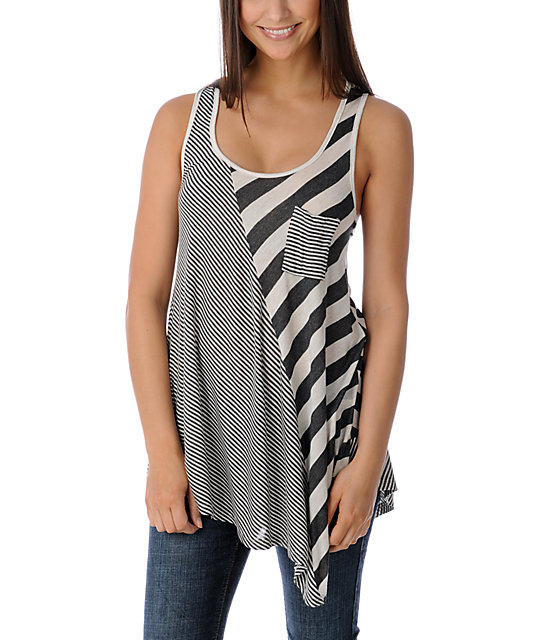Funky Story Asymmetrical Stripe Charcoal & Cream Tunic Tank Top