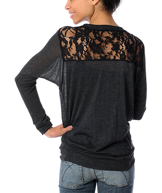 Funky Story Pretty In Lace Charcoal Top