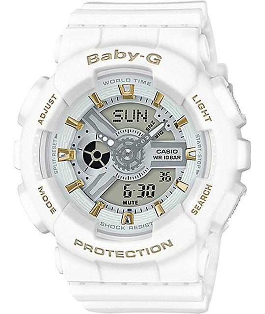6482652ae8cd G-Shock Baby-G BA110GA-7A1 reloj dorado acentuado en blanco ...