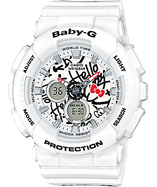 G Shock Baby G X Hello Kitty BA 120KT 7A reloj blanco