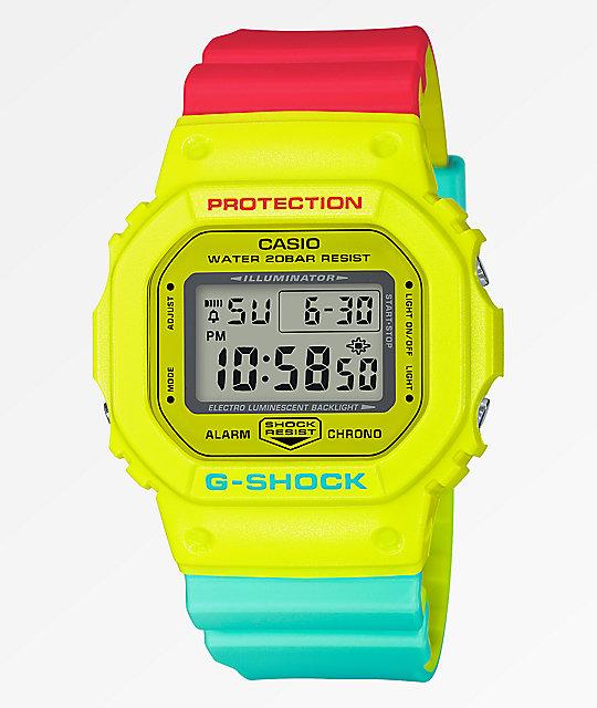 G Shock Dw5600 Retro Yellow Red Blue Watch