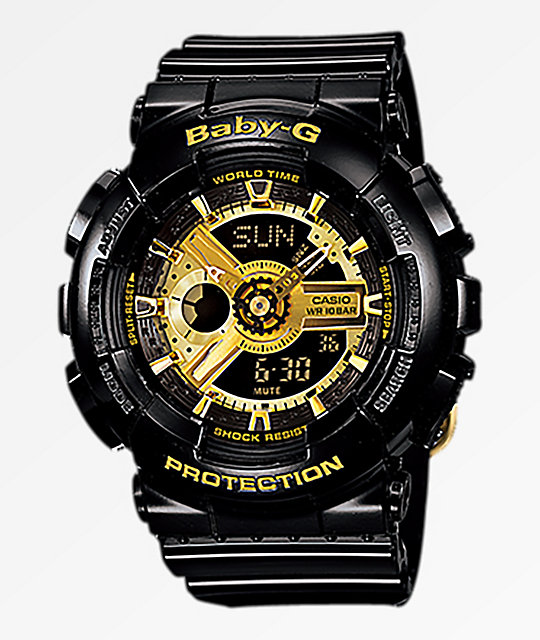 G-Shock GA110 Mini Gloss Black & Gold Digital & Analog Watch