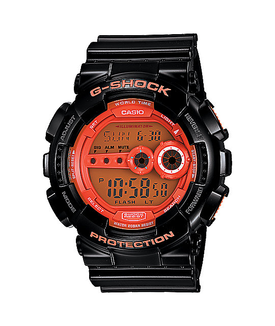 G-Shock GD100-HC-1 Hyper Color Black & Orange Digital Watch