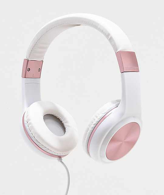 Gabba Goods Sleek Sounds White & Rose Gold Wired Headphones