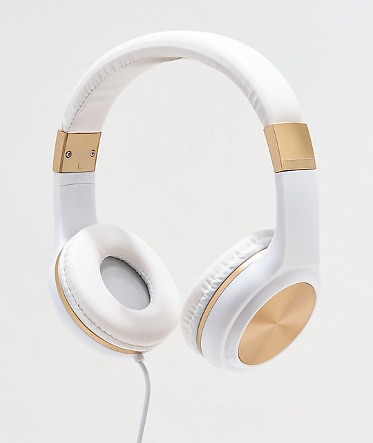 Gabba Goods Sleek Sounds auriculares con cable en blanco y oro