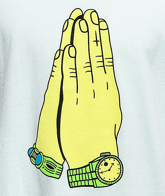Gangster Doodles Praying Hands Light Blue T-Shirt