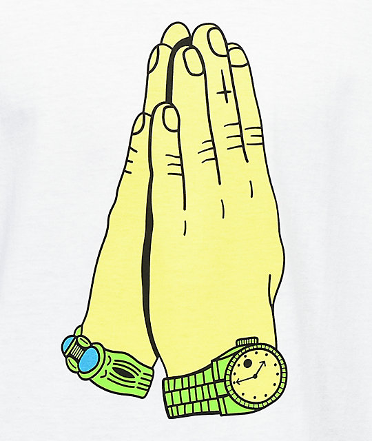 Gangster Doodles Praying Hands White T-Shirt