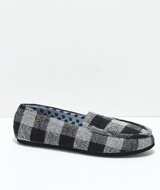Gigi Apres Grey Plaid Slippers