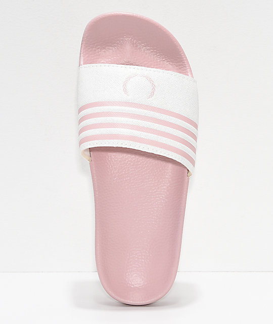 Gigi Laurel Pink & White Slide Sandals