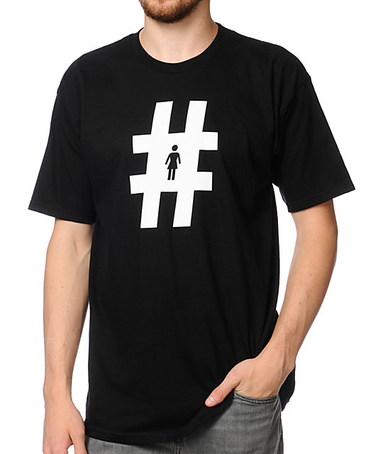 Girl Hashtag Black T-Shirt