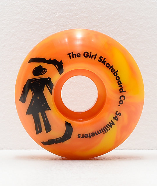 Girl Staple Sketchy Swirl 54mm Orange & Yellow Skateboard Wheels