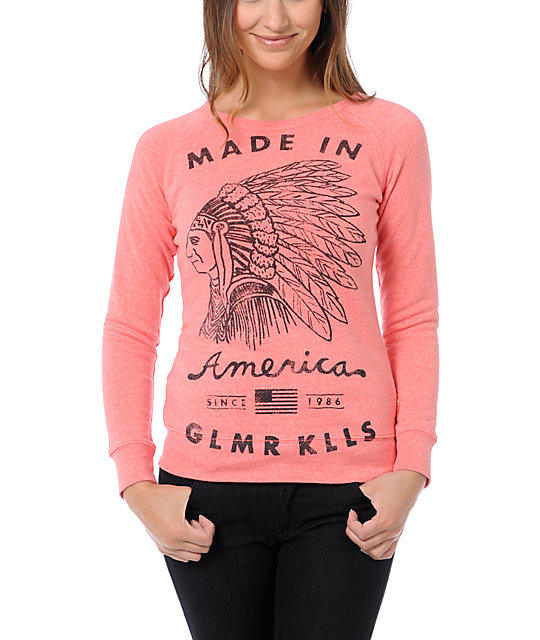 Glamour Kills American Made Coral Crew Neck Sweatshirt