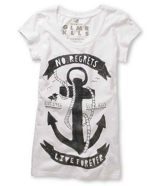 Glamour Kills Anchor Scoop-Neck White T-Shirt