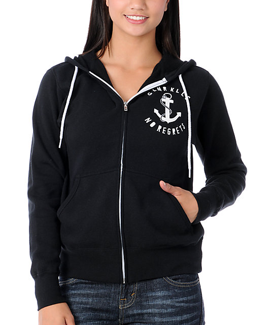 Glamour Kills Anchors Away Black Zip Up Hoodie