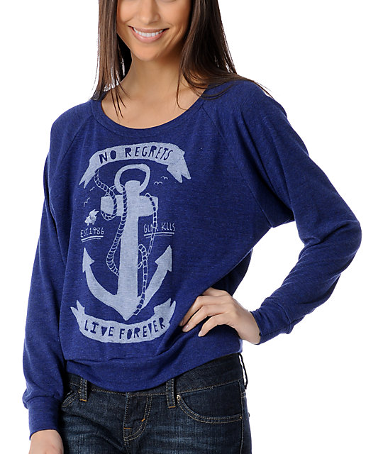 Glamour Kills Anchors Away Navy Boyfriend-Fit Raglan Top