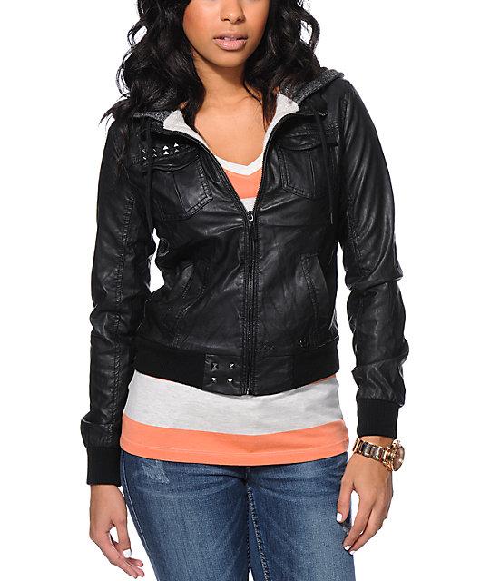 86b21708e26 Glamour Kills Anchors Black Faux Leather Hooded Jacket
