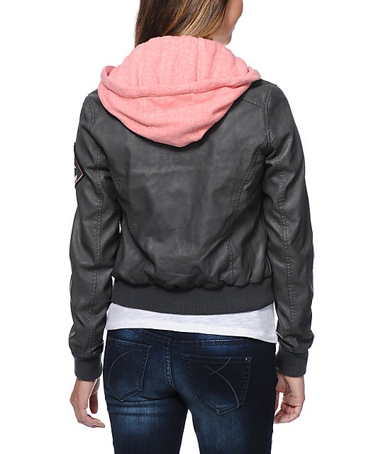 Glamour Kills Anchors NYC Dark Grey Faux Leather Jacket