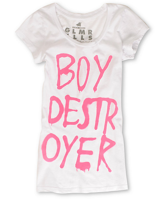 Glamour Kills Boy Destroyer Scoop-Neck White T-Shirt