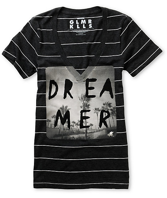 Glamour Kills CA Dreaming Charcoal Stripe V-Neck T-Shirt