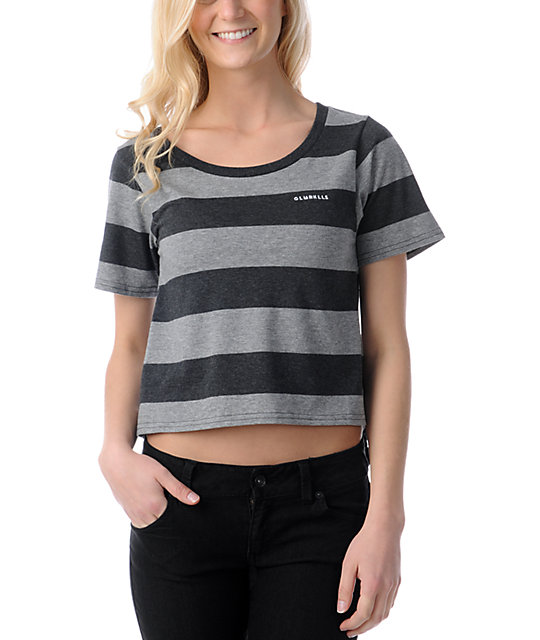 Glamour Kills Changing Charcoal & Grey Stripe Scoop T-Shirt