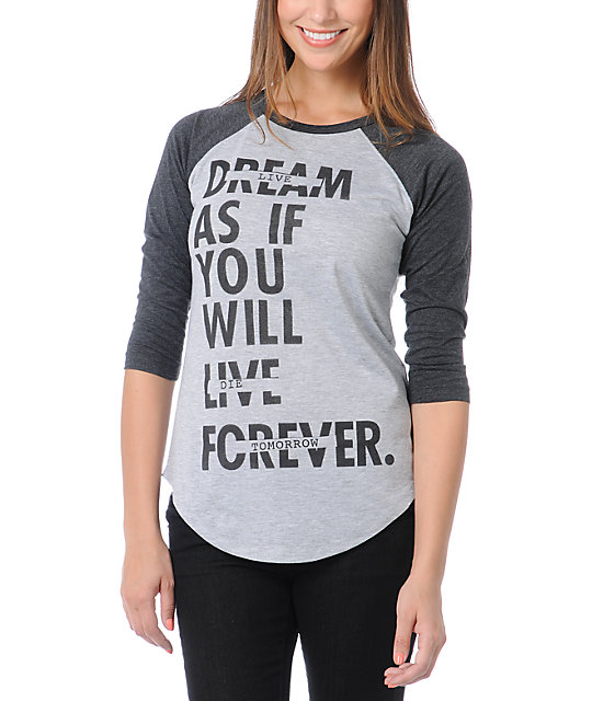 Glamour Kills Dream Forever Grey & Charcoal Baseball Tee
