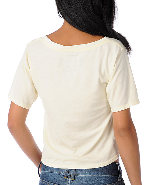 Glamour Kills Dream On Dreamer Cream Slouchy Crop Top