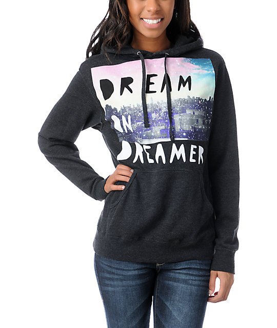 Glamour Kills Dream On Dreamer Skyline Charcoal Grey Pullover Hoodie